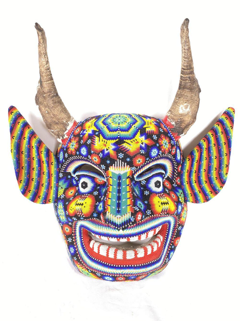Huichol Mexican Foreign Hand Beaded Tribal Mask w/ Real Horns