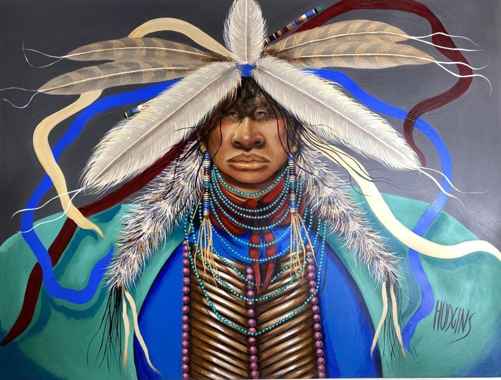Mary Hudgins Native American Plain Indian Original Oil on Canvas Art