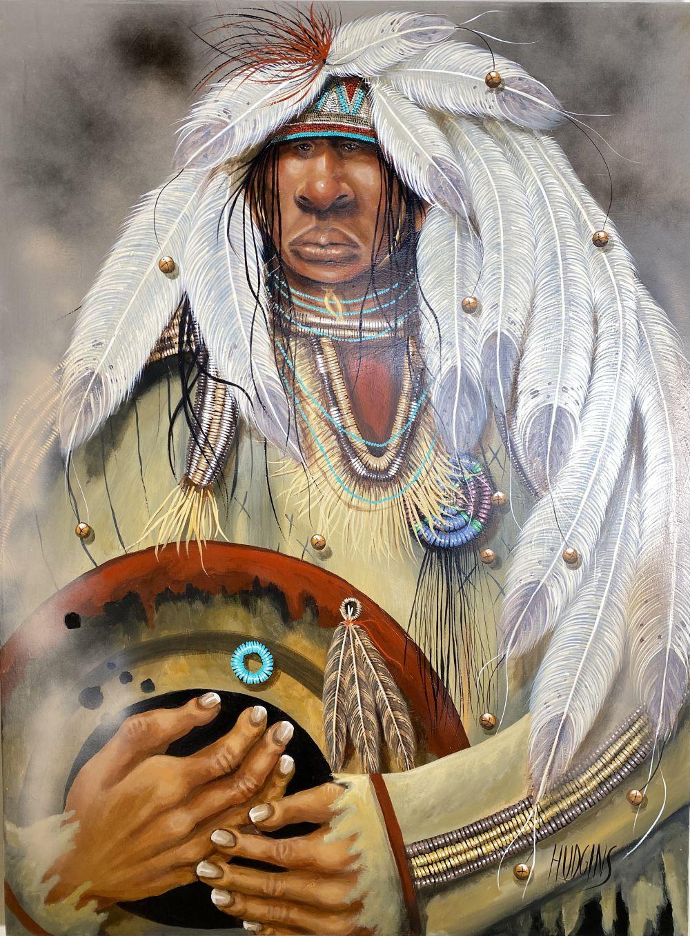 """Mary Hudgins """"Whippers Ha Kachina"""" Native American Indian Original Oil on Canvas Art"""