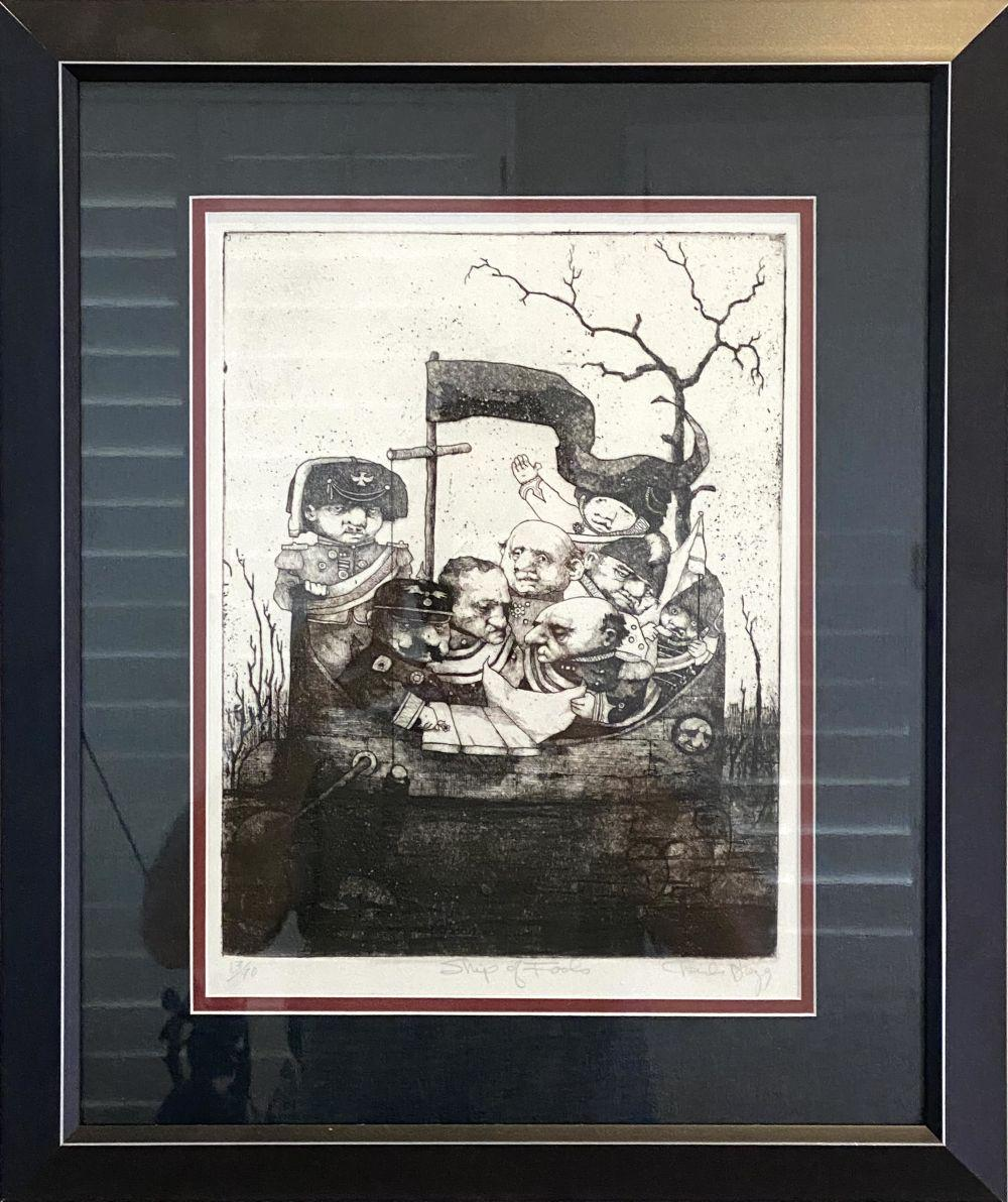 """Charles Bragg """"Ship of Fools"""" Signed Lithograph #13/90"""