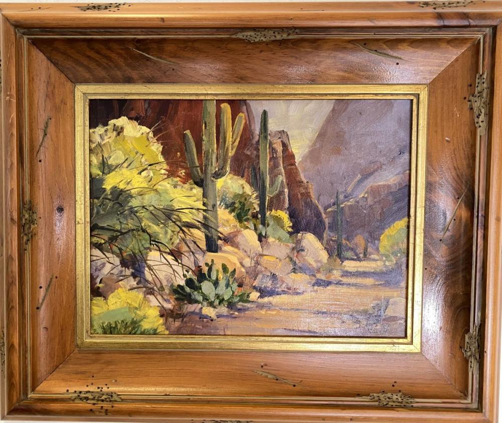 "David W. Jackson ""Shadow Canyon"" Original Oil on Board Landscape Art"