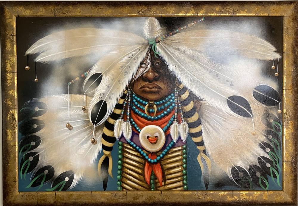 Mary Hudgins Native American Plain Indian Original Oil on Board Art