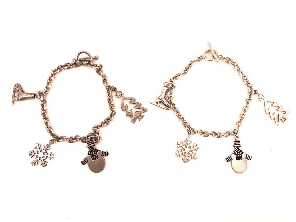 Christmas Holiday Sterling Silver Charm Bracelets