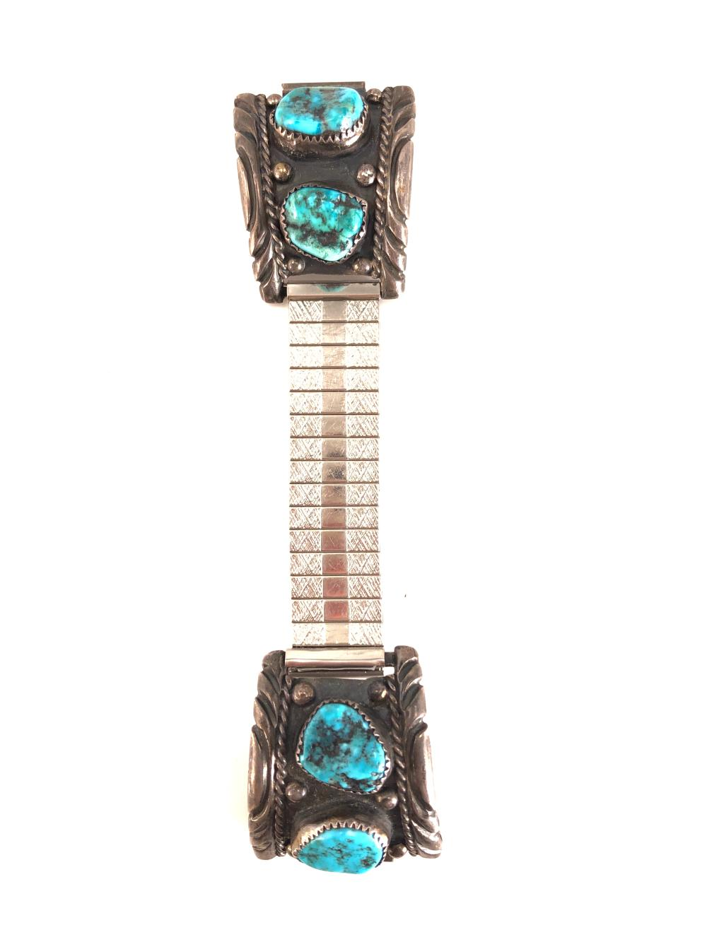 Vintage Native American Silver & Turquoise Watch Cuffs