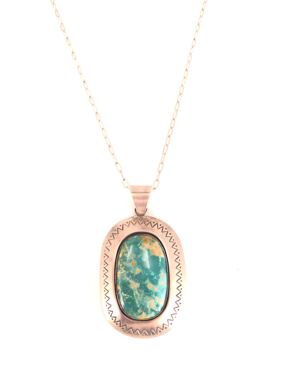 LARGE Native American M Slim Artist Signed Sterling Silver and Turquoise Pendant w/ Necklace