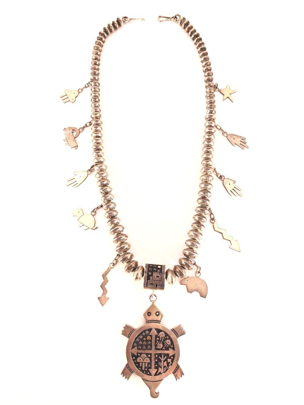 RARE! Native American 14k Gold & Sterling Silver Turtle & Fetish Squash Blossom Necklace