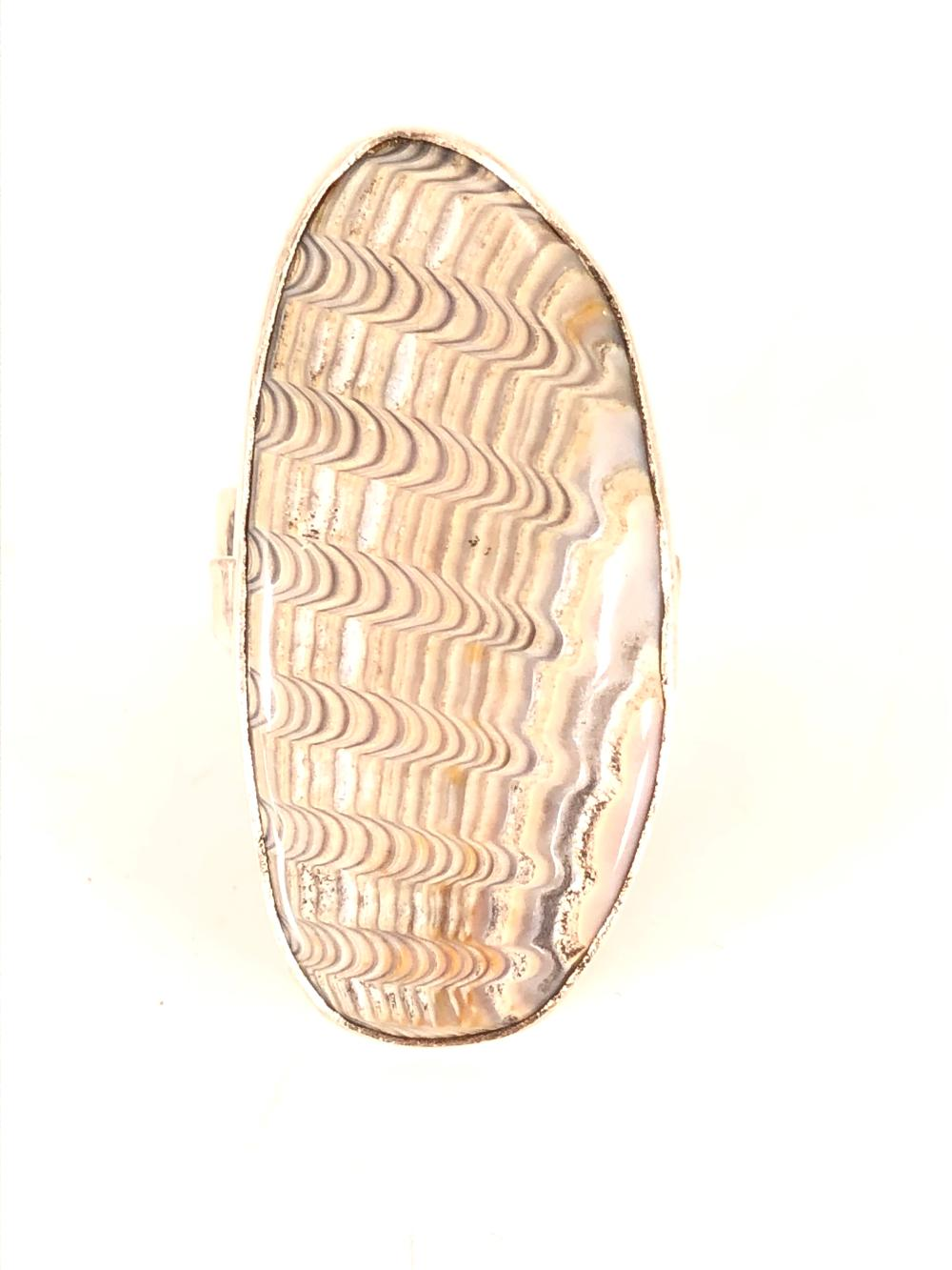 Southwest Sterling Silver Fossil Ring