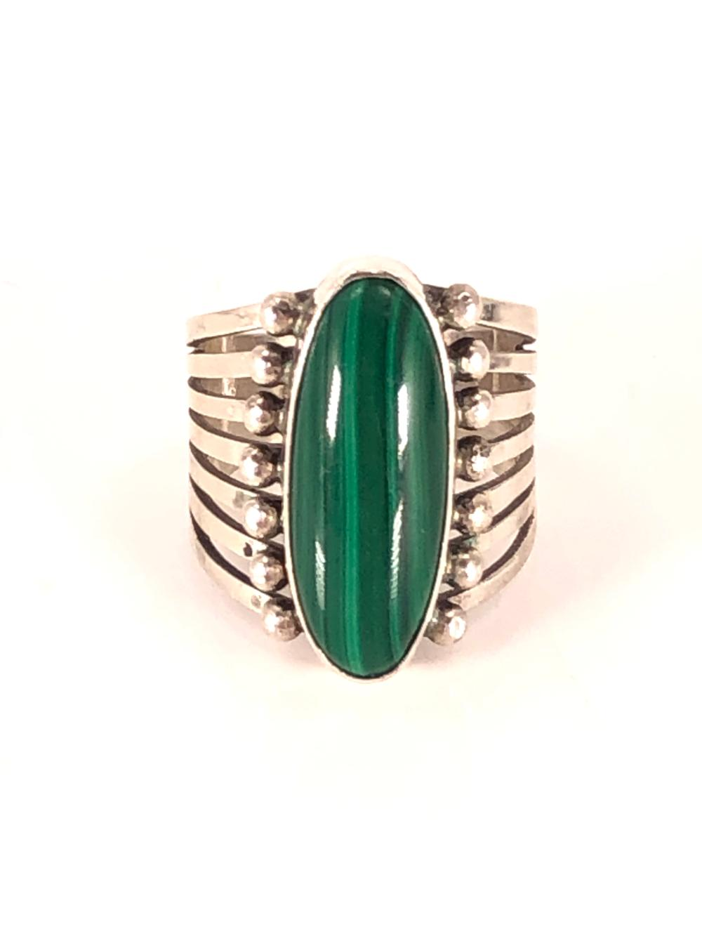 Southwest Sterling Silver and Malachite Ring