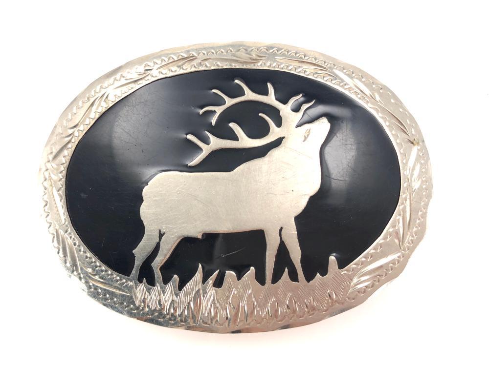 Wil Aren Western Originals Elk Inlaid Belt Buckle