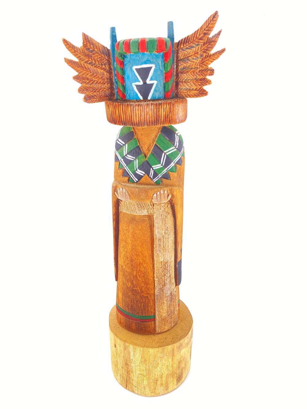 "Native American James Garcia ""Crow Mother"" Wood Kachina"