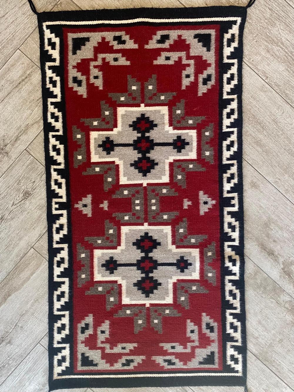 Native American Red, White & Black Rug