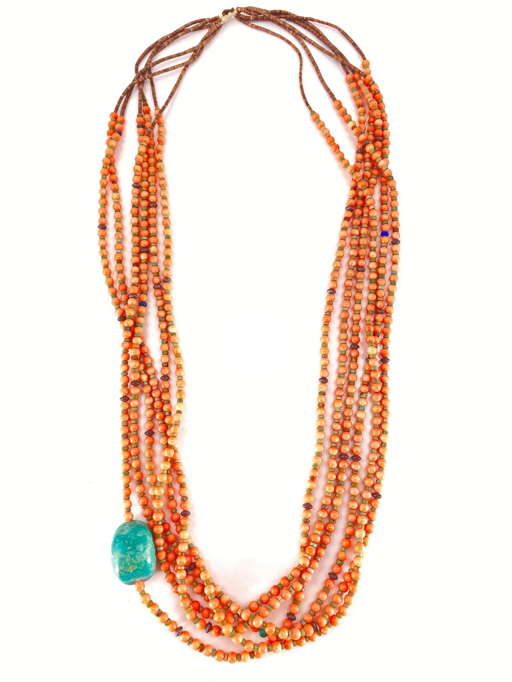 Native American Pink Coral & Heishi Beaded Necklace w/ Turquoise