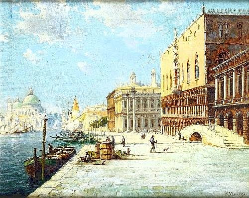 A D BELL. Oil on canvas, 'The Doges Palace, Venice', figures on the waterside, signed and dated 1940, 16.5in x 20.5in. framed. ILLUSTRATED.