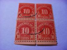 EARLY POSTAGE DUE STAMP BLOCK OF 4