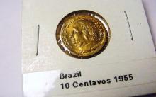 1955 BRAZIL 10 CENTAVOS UNC