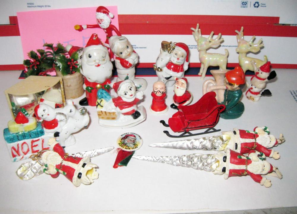 Lot Vintage miniature Christmas Decor Collection some JAPAN, metal sled, grumpy Santa