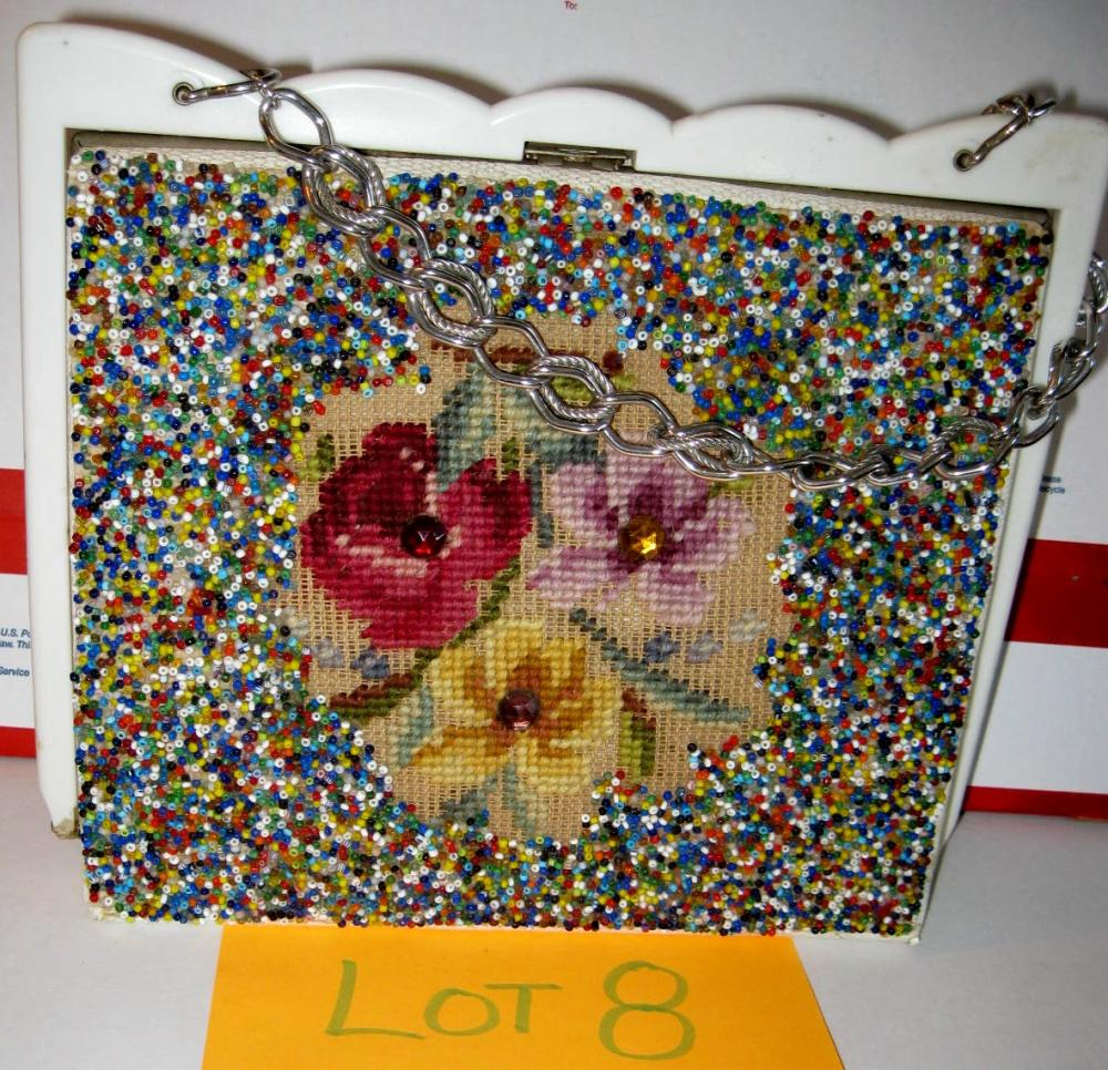 Vintage Floral Bead embroidered Purse Handbag Flowers w/ Metal clasp