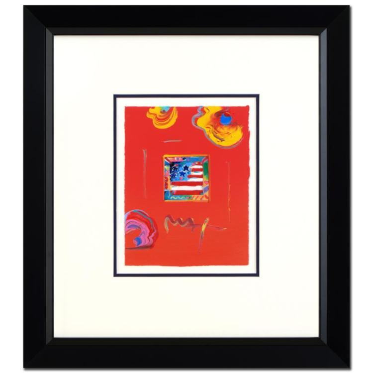 FLAG WITH HEART is a one-of-a-kind acrylic mixed media on paper by Peter MAX