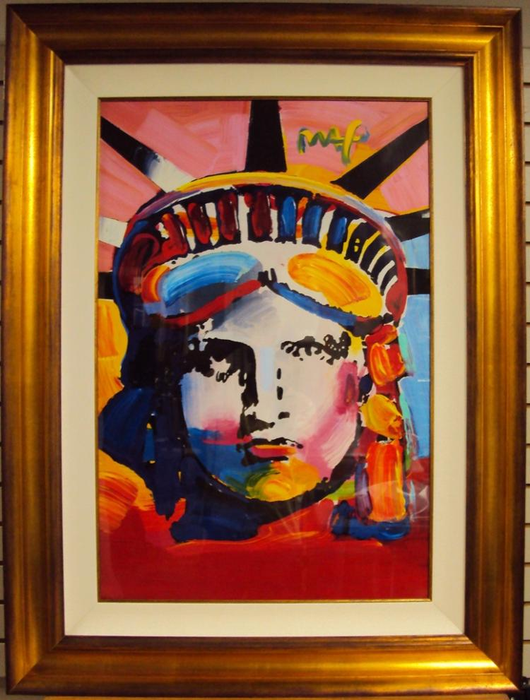 DELTA (STATUE OF LIBERTY) is a one-of-a-kind acrylic mixed media on paper by Peter MAX