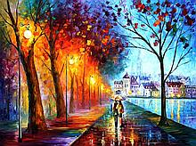CITY BY THE LAKE is an ORIGINAL ONE-OF-A-KIND Oil Painting on Canvas by Leonid Afremov