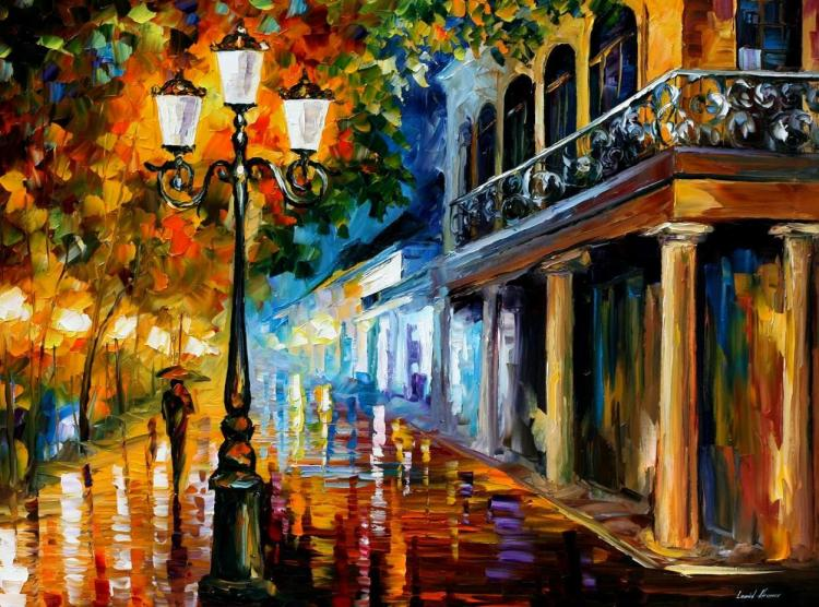 NIGHT TRANSFORMATION is an ORIGINAL ONE-OF-A-KIND Oil Painting on Canvas by Leonid Afremov