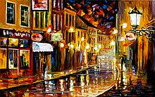 LIGHTS OF THE OLD TOWN is an ORIGINAL ONE-OF-A-KIND Oil Painting on Canvas by Leonid Afremov