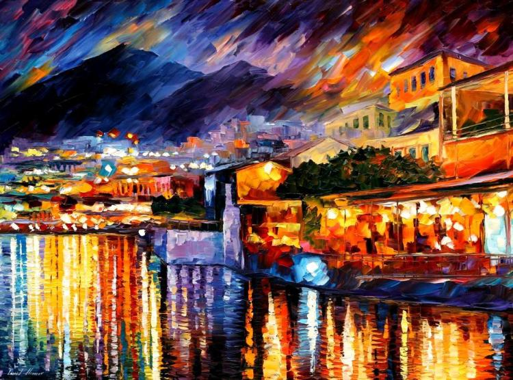 NAPLES - VESUVIUS is an ORIGINAL ONE-OF-A-KIND Oil Painting on Canvas by Leonid Afremov