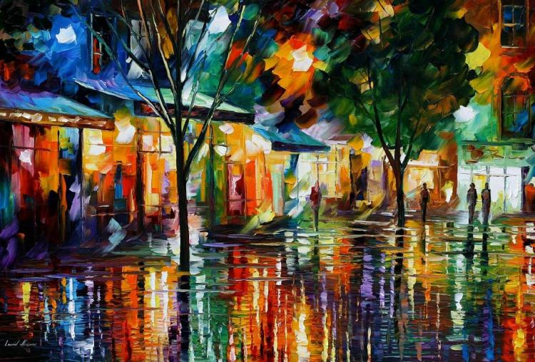 NIGHT SHOPS is an ORIGINAL ONE-OF-A-KIND Oil Painting on Canvas by Leonid Afremov
