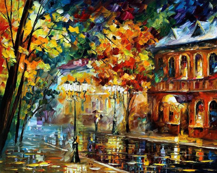 OLD MOSCOW is an ORIGINAL ONE-OF-A-KIND Oil Painting on Canvas by Leonid Afremov