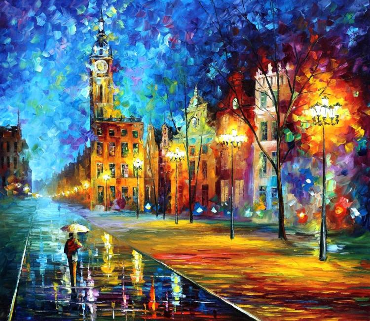 OLD TOWN is an ORIGINAL ONE-OF-A-KIND Oil Painting on Canvas by Leonid Afremov