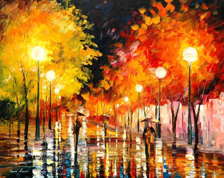 RAINY NIGHT is an ORIGINAL ONE-OF-A-KIND Oil Painting on Canvas by Leonid Afremov