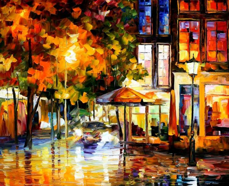 THE WINDOWS OF AMSTERDAM is an ORIGINAL ONE-OF-A-KIND Oil Painting on Canvas by Leonid Afremov