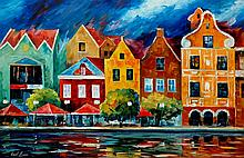 RIVERFRONT is an ORIGINAL ONE-OF-A-KIND Oil Painting on Canvas by Leonid Afremov