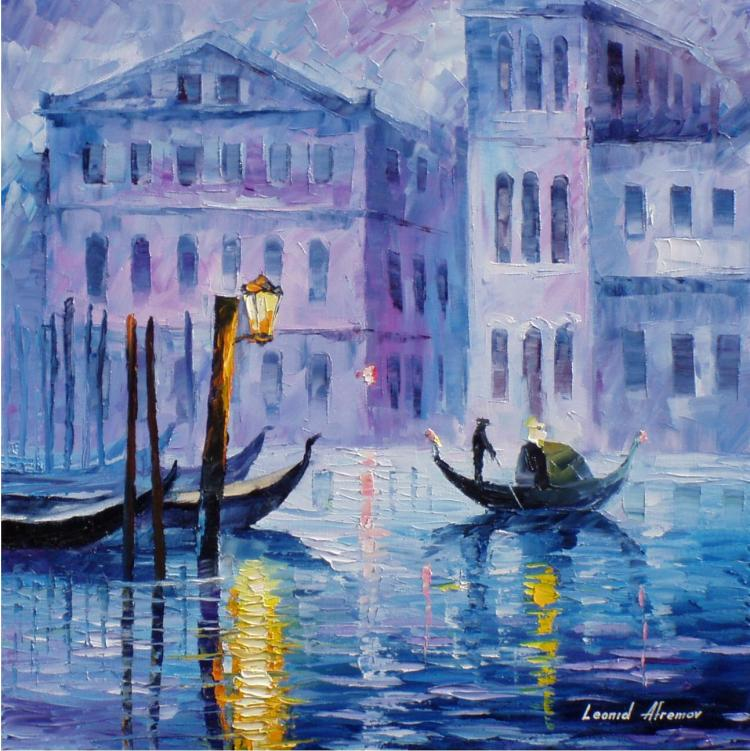 MYSTERY OF VENICE is an ORIGINAL ONE-OF-A-KIND Oil Painting on Canvas by Leonid Afremov