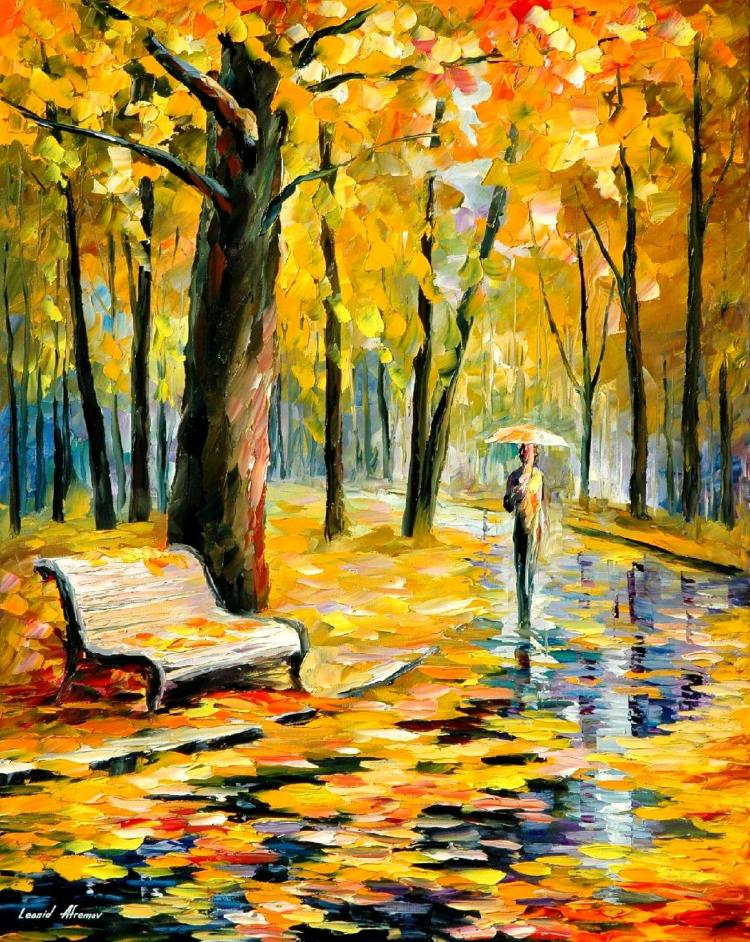 FALL RAIN 3 is an ORIGINAL ONE-OF-A-KIND Oil Painting on Canvas by Leonid Afremov
