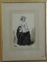 Roland Pym (1910 - 2006) Watercolour: ''Elegant Lady in hunting attire,''