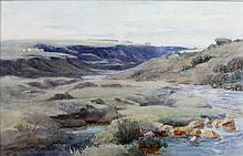 Mary Georgiana Barton S.W.A. (1861 - 1949) Watercolour: ''A Donegal Stream