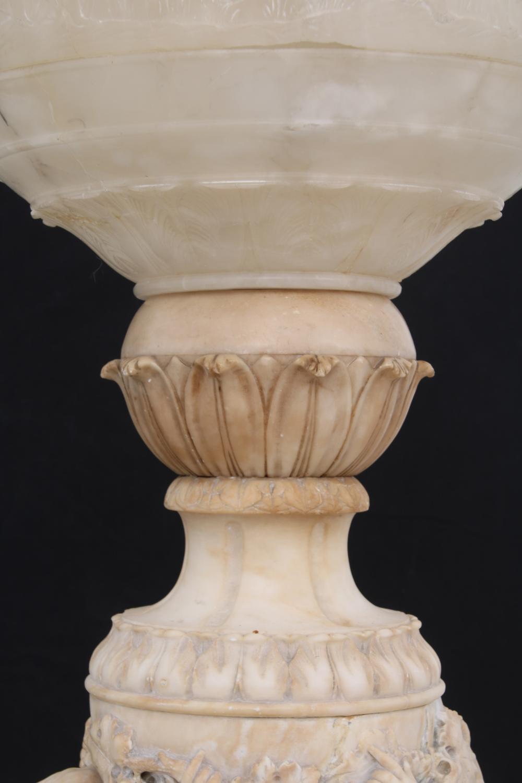 Italian Carved Alabaster Lamp on Pedestal