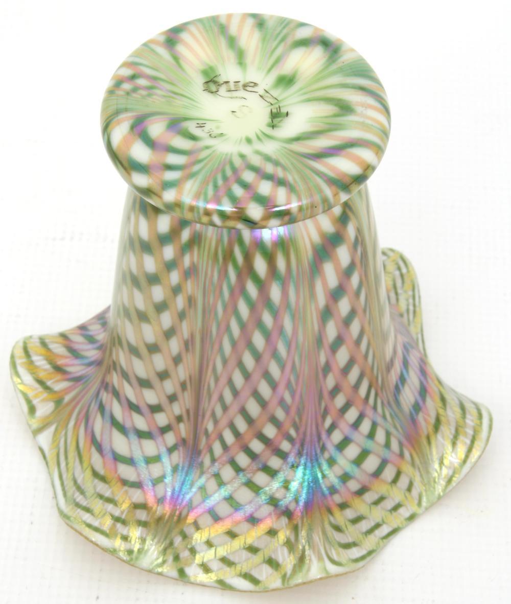 Quezal Decorated Iridescent Glass Vase