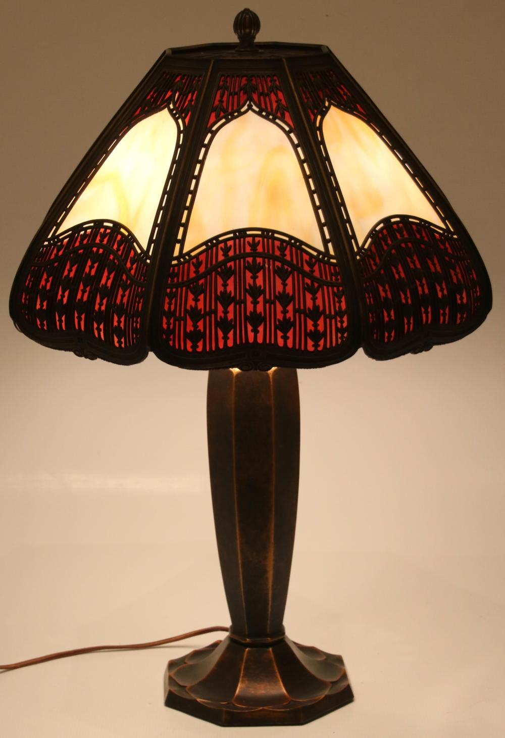 Bradley & Hubbard Overlay Table Lamp