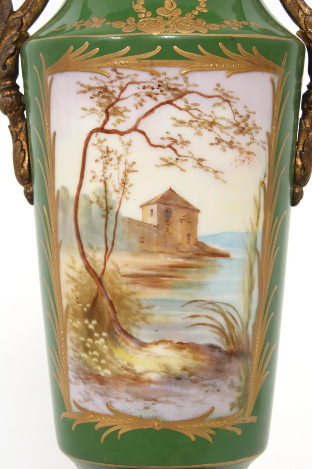 Pair of Limoges Porcelain Covered Urns