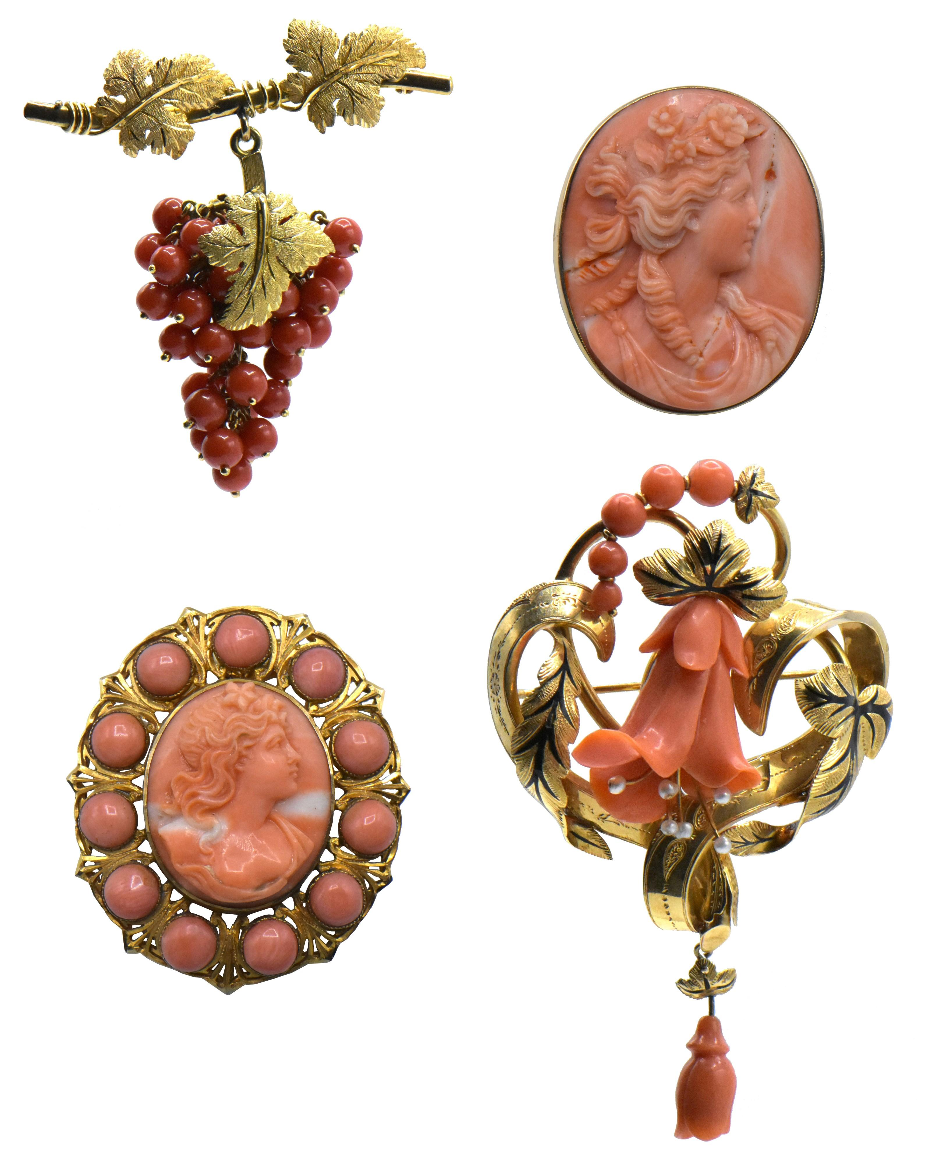 Four 14K Yellow Gold & Coral Brooches
