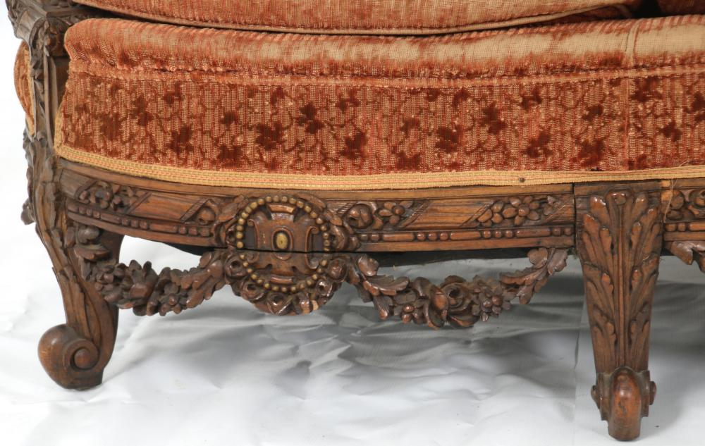 American Carved Walnut Two Piece Parlor Set