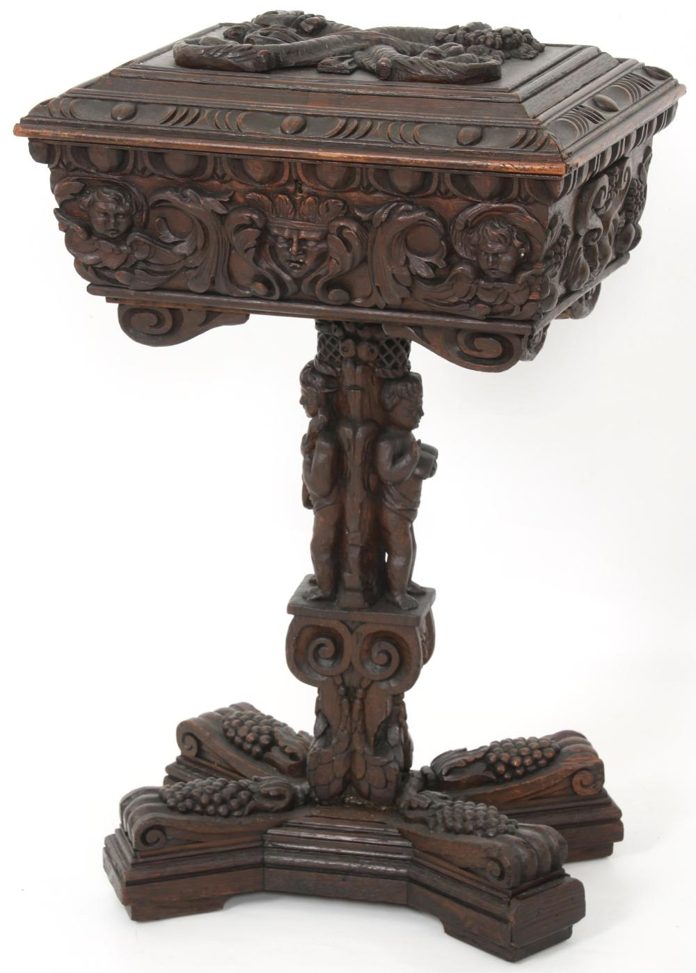 French Carved Oak Tea Caddy
