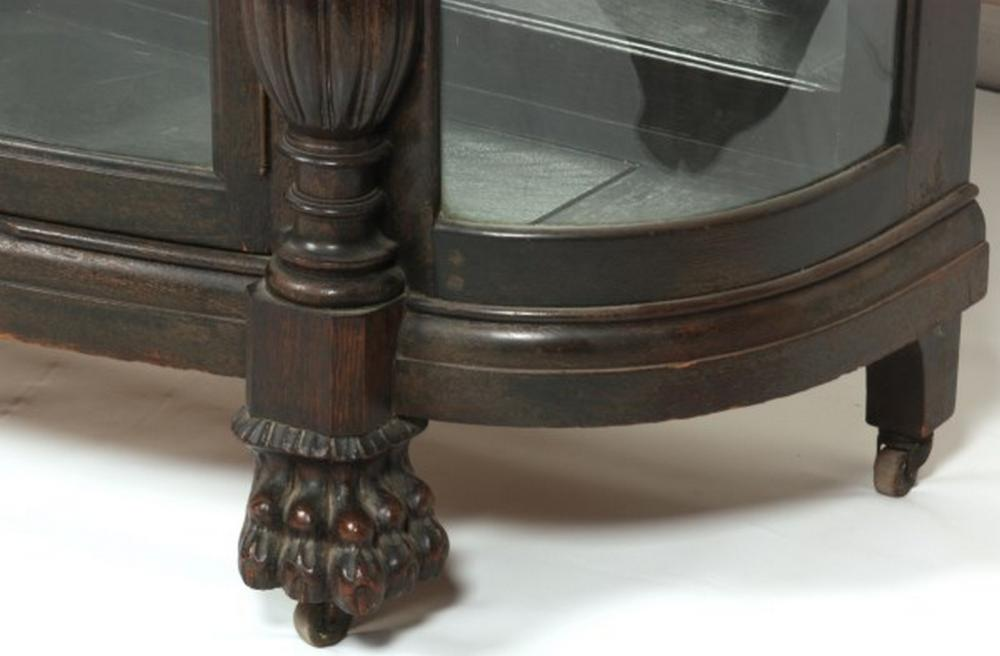 American Carved Oak China Cabinet