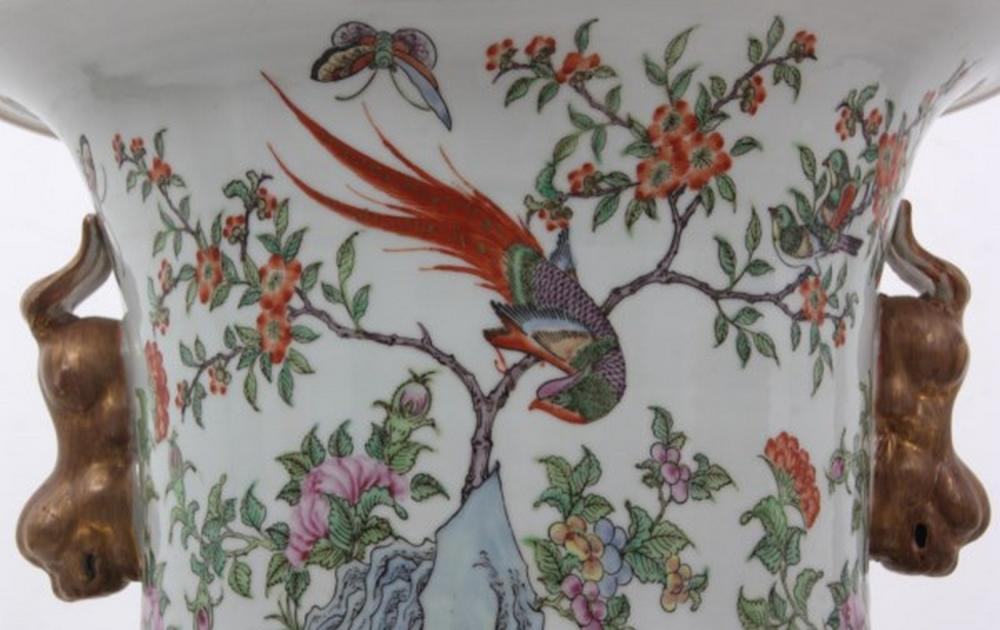 Asian Enamel Decorated Porcelain Floor Vase