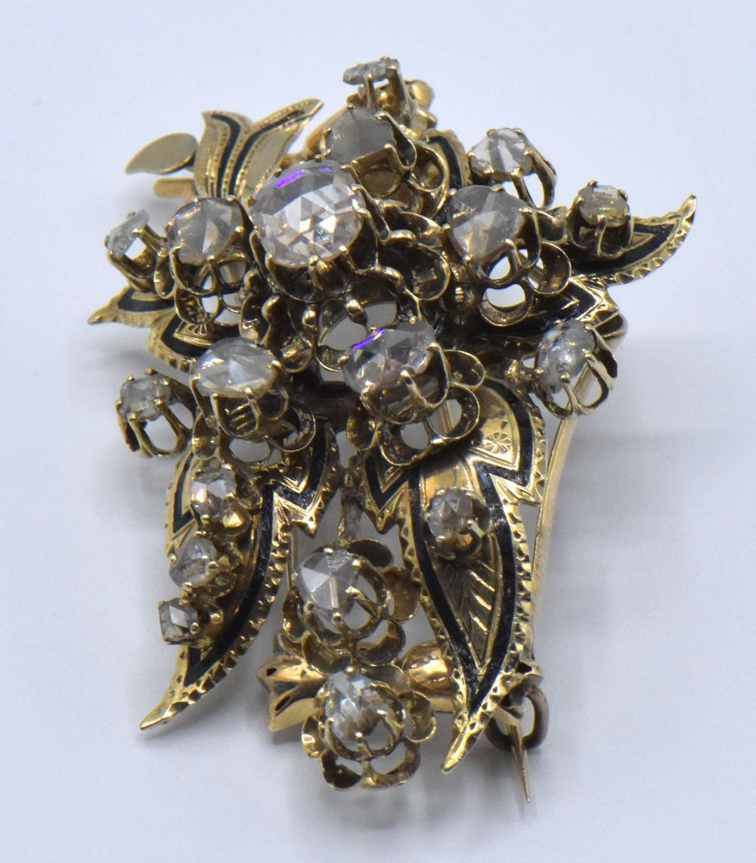 14K Yellow Gold & Diamond Russian Floral Brooch