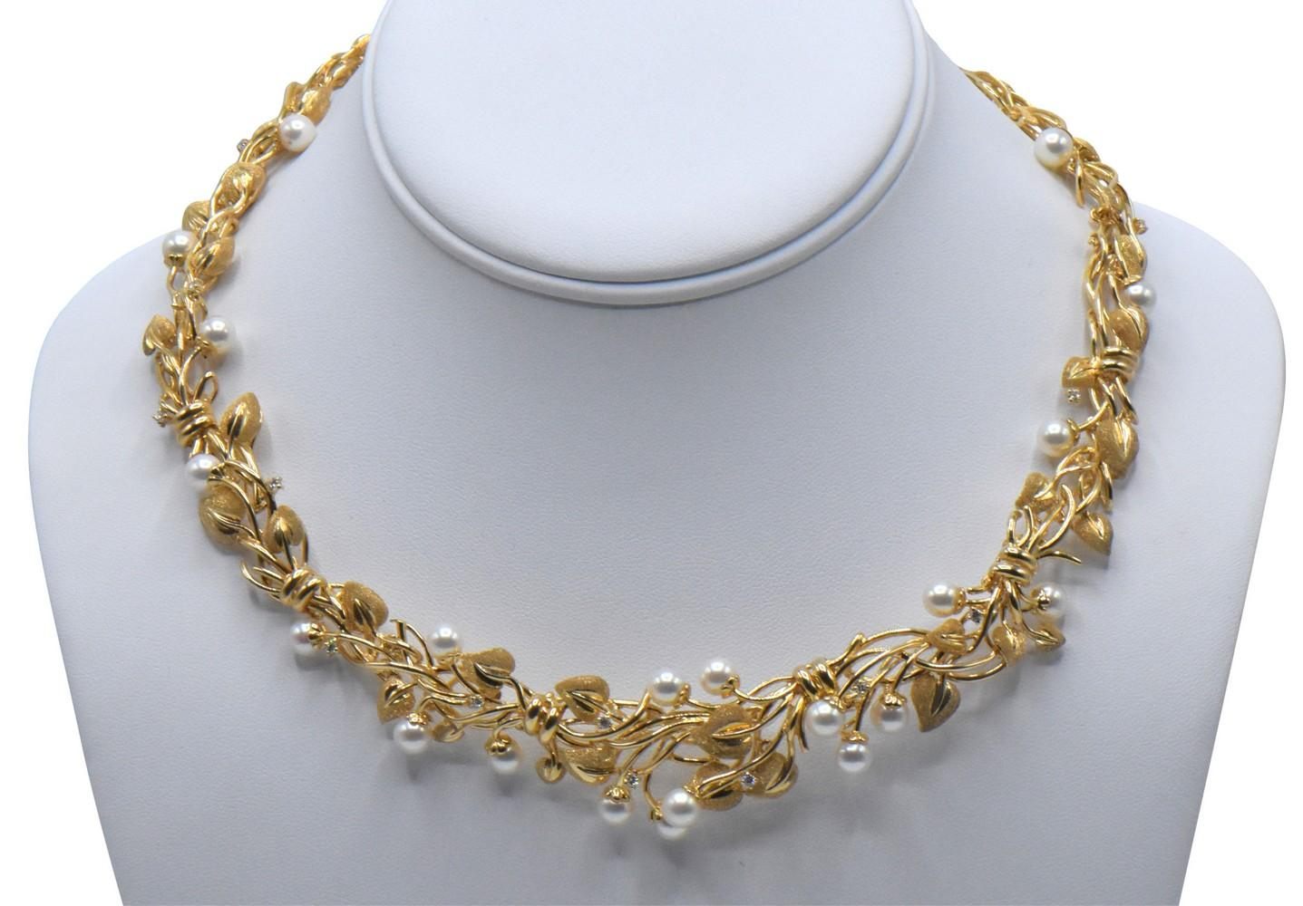 14K Yellow Gold, Diamond, & Pearl Necklace