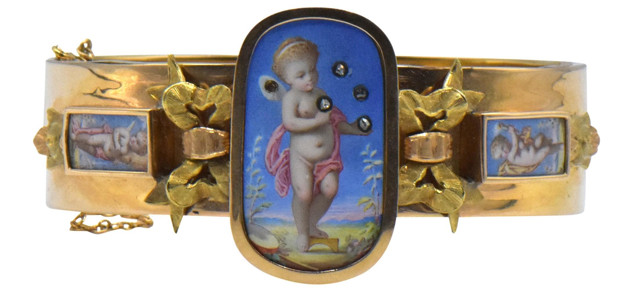 14K Yellow Gold, Diamond & Enamel Bracelet