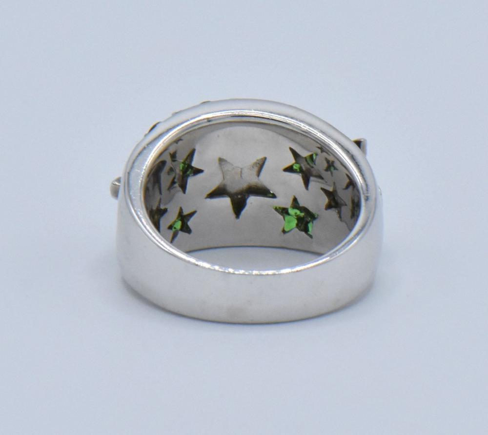 14K White Gold, Diamond & Tsavorite Ring